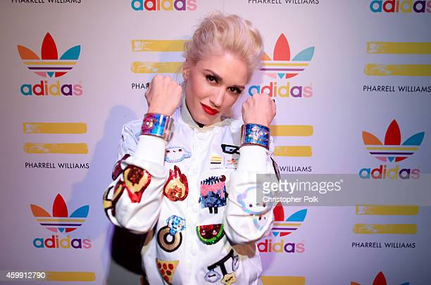 Singer Gwen Stefani attends the collaboration celebration of Pharrell Williams and Adidas at Hinoki The Bird on December 3 2014 in Los Angeles...