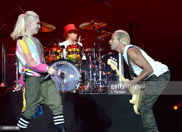 Singer Gwen Stefani drummer Adrian Young and bass player Tony Kanal of No Doubt perform onstage during 2015 KAABOO Del Mar at the Del Mar Fairgrounds...