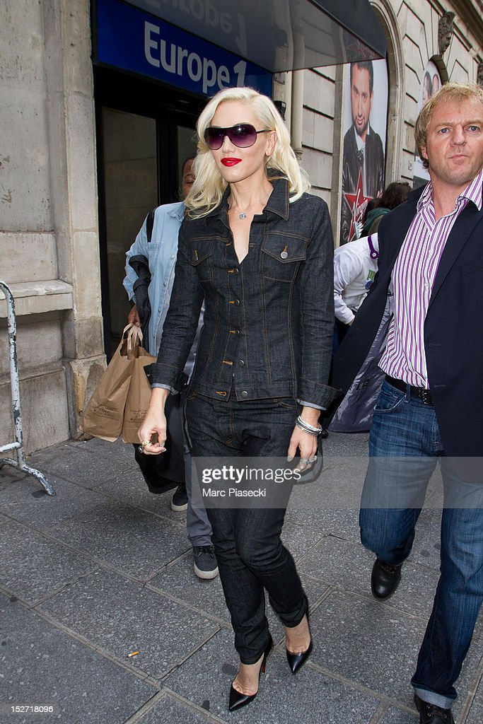 Singer Gwen Stefani leaves 'Europe 1' radio station on September 24, 2012 in Paris, France.