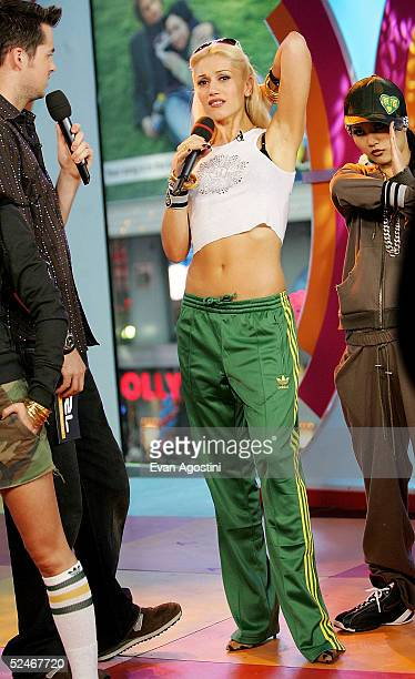 Singer Gwen Stefani makes an appearance on MTV 's Total Request Live on March 22 2005 in New York City