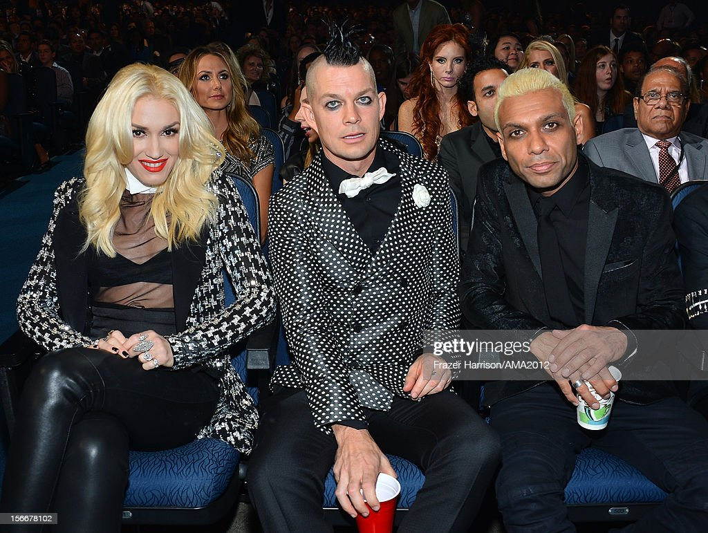 Singer Gwen Stefani, musicians Adrian Young and Tony Kanal of No Doubt at the 40th American Music Awards held at Nokia Theatre L.A. Live on November 18, 2012 in Los Angeles, California.