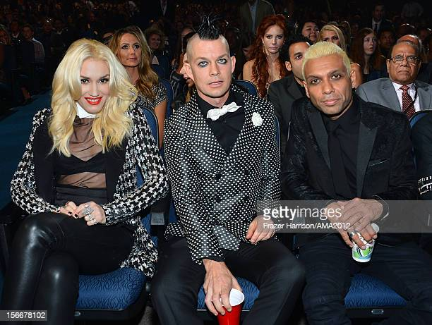 Singer Gwen Stefani, musicians Adrian Young and Tony Kanal of No Doubt at the 40th American Music Awards held at Nokia Theatre L.A. Live on November...