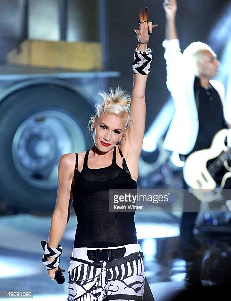 Singer Gwen Stefani of No Doubt performs onstage during the 2012 Teen Choice Awards at Gibson Amphitheatre on July 22 2012 in Universal City...