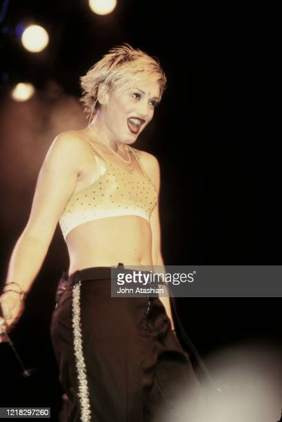 """Singer Gwen Stefani of the rock band No Doubt is shown performing on stage during a """"live"""" concert appearance on July 11, 1997."""