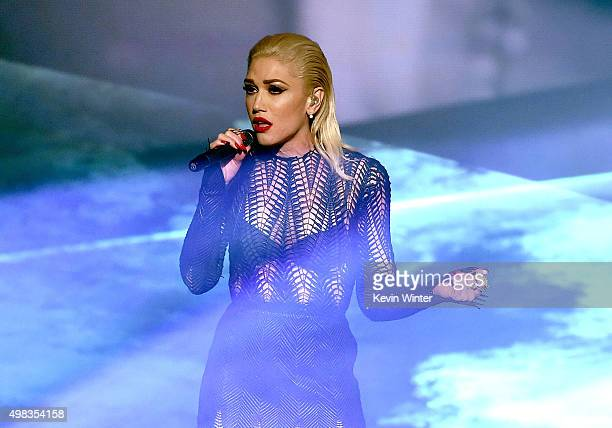 Singer Gwen Stefani performs onstage during the 2015 American Music Awards at Microsoft Theater on November 22 2015 in Los Angeles California