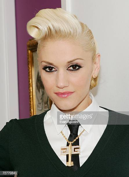 Singer Gwen Stefani poses backstage after an appearance on MTV's Total Request Live at MTV Studios December 07 2006 in New York City