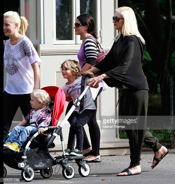 Singer Gwen Stefani seen with kids Kingston Rossdale and Zuma Rossdale in Central Park on September 17 2010 in New York City