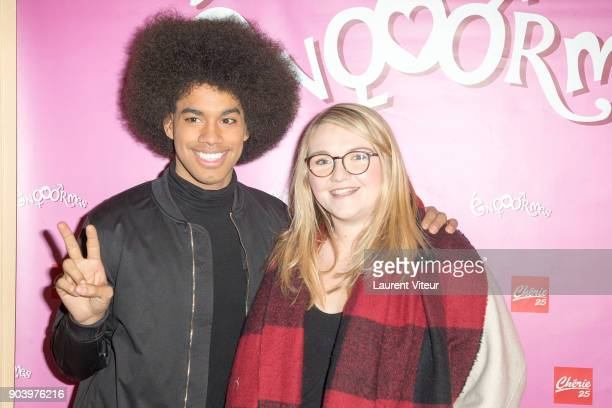 Singer Gwendal Marimoutou and Youtuber Lola Dubini attend 'Enooormes' Paris Premiere at Theater Trevise on January 12 2018 in Paris France