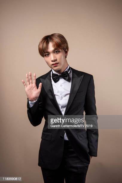 Singer Haechan of boy band NCT 127 pose for a portrait at the MTV EMAs 2019 studio at FIBES Conference and Exhibition Centre on November 3 2019 in...