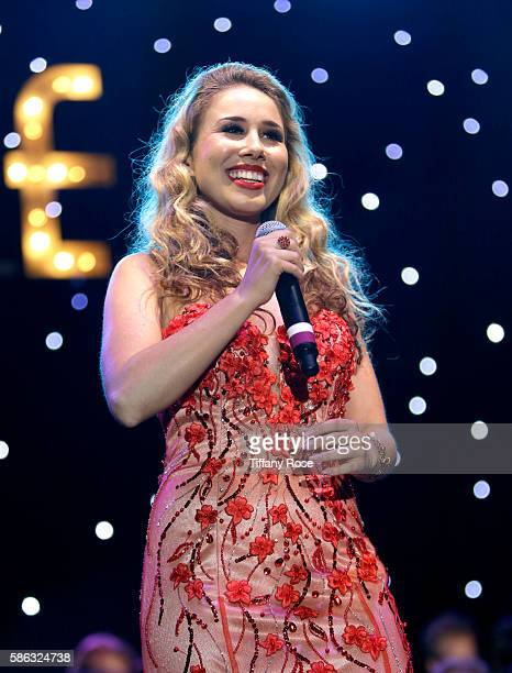Singer Haley Reinhart performs onstage at A Night At The Cocoanut Grove at The Grove on August 5 2016 in Los Angeles California
