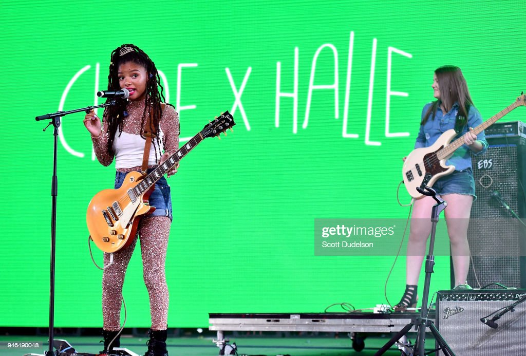 Singer Halle Bailey (L) of the duo Chloe x Halle performs on the Mojave stage during week 1, day 2 of the Coachella Valley Music and Arts Festival on April 14, 2018 in Indio, California.