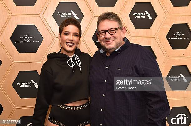Singer Halsey and CBE Chairman CEO UMG Lucian Grainge attend Lucian Grainge's 2016 Artist Showcase Presented by American Airlines and Citi at The...