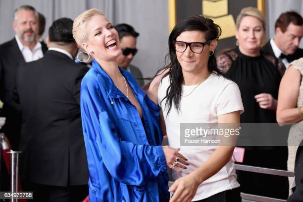 Singer Halsey and DJ Skrillex attend The 59th GRAMMY Awards at STAPLES Center on February 12 2017 in Los Angeles California