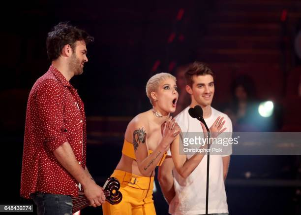 Singer Halsey and DJs Alex Pall and Andrew Taggart of The Chainsmokers accept the Dance Song of the Year award for 'Closer' onstage at the 2017...