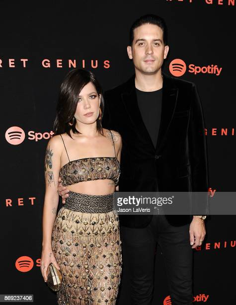Singer Halsey and rapper GEazy attend Spotify's inaugural Secret Genius Awards at Vibiana Cathedral on November 1 2017 in Los Angeles California