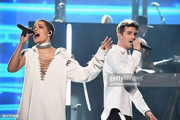 Singer Halsey and singer Drew Taggart of The Chainsmokers perform onstage at the 2016 American Music Awards at Microsoft Theater on November 20, 2016...