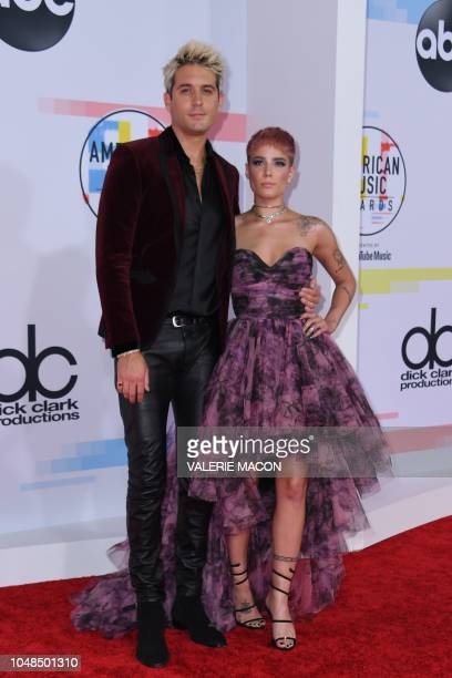 US singer Halsey and US rapper GEazy arrive at the 2018 American Music Awards on October 9 in Los Angeles California