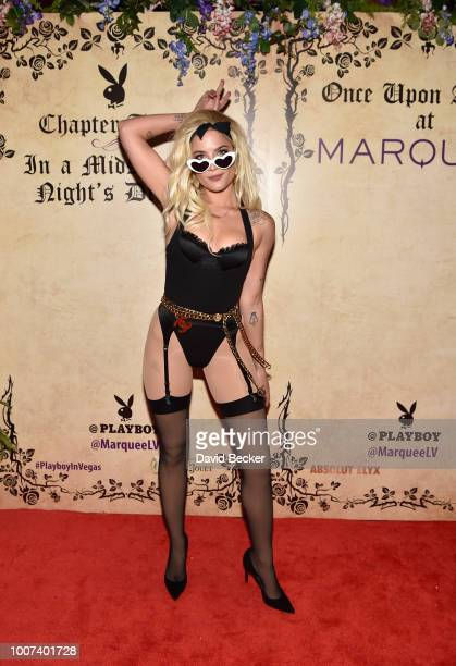 Singer Halsey arrives at Playboy's Midsummer Night's Dream at the Marquee Nightclub at The Cosmopolitan of Las Vegas on July 28 2018 in Las Vegas...