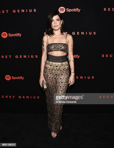 Singer Halsey arrives at Spotify's Inaugural Secret Genius Awards on November 1 2017 in Los Angeles California