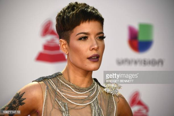 Singer Halsey arrives at the 19th Annual Latin Grammy Awards in Las Vegas, Nevada, on November 15, 2018.
