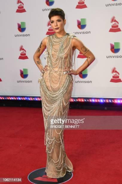 US singer Halsey arrives at the 19th Annual Latin Grammy Awards in Las Vegas Nevada on November 15 2018