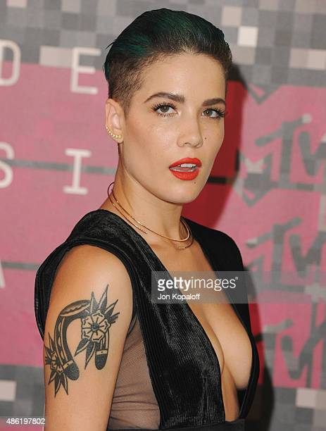 Singer Halsey arrives at the 2015 MTV Video Music Awards at Microsoft Theater on August 30 2015 in Los Angeles California