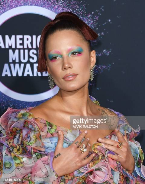 Singer Halsey arrives for the 2019 American Music Awards at the Microsoft theatre on November 24, 2019 in Los Angeles.