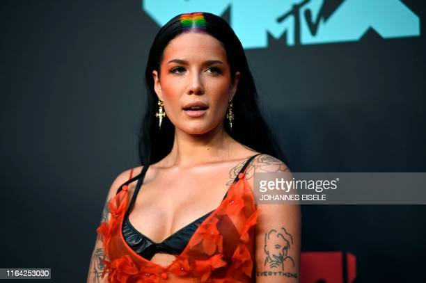 Singer Halsey arrives for the 2019 MTV Video Music Awards at the Prudential Center in Newark, New Jersey on August 26, 2019.