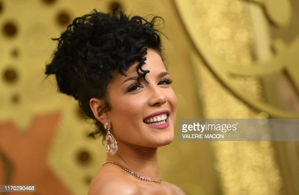 Singer Halsey arrives for the 71st Emmy Awards at the Microsoft Theatre in Los Angeles on September 22, 2019.