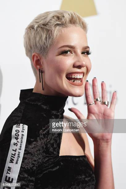 Singer Halsey attends PreGRAMMY Gala and Salute to Industry Icons Honoring Debra Lee at The Beverly Hilton on February 11 2017 in Los Angeles...