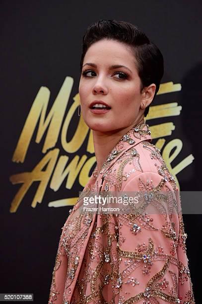 Singer Halsey attends the 2016 MTV Movie Awards at Warner Bros Studios on April 9 2016 in Burbank California MTV Movie Awards airs April 10 2016 at...