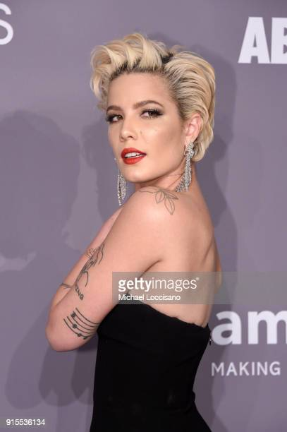 Singer Halsey attends the 2018 amfAR Gala New York at Cipriani Wall Street on February 7 2018 in New York City