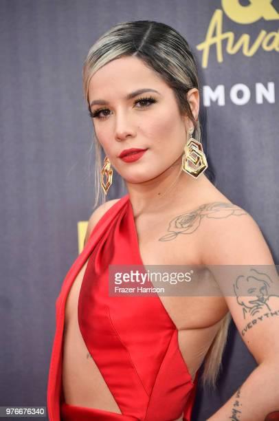 Singer Halsey attends the 2018 MTV Movie And TV Awards at Barker Hangar on June 16 2018 in Santa Monica California