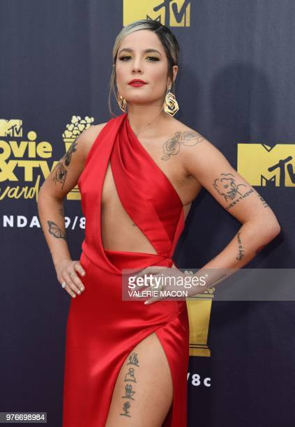 US singer Halsey attends the 2018 MTV Movie TV awards at the Barker Hangar in Santa Monica on June 16 2018 This year's show is not live It will be...