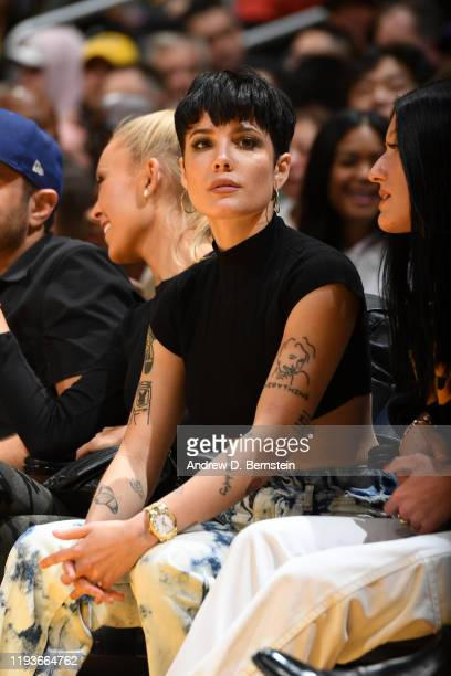 Singer Halsey attends the game between the Los Angeles Lakers and the Cleveland Cavaliers on January 13 2020 at STAPLES Center in Los Angeles...