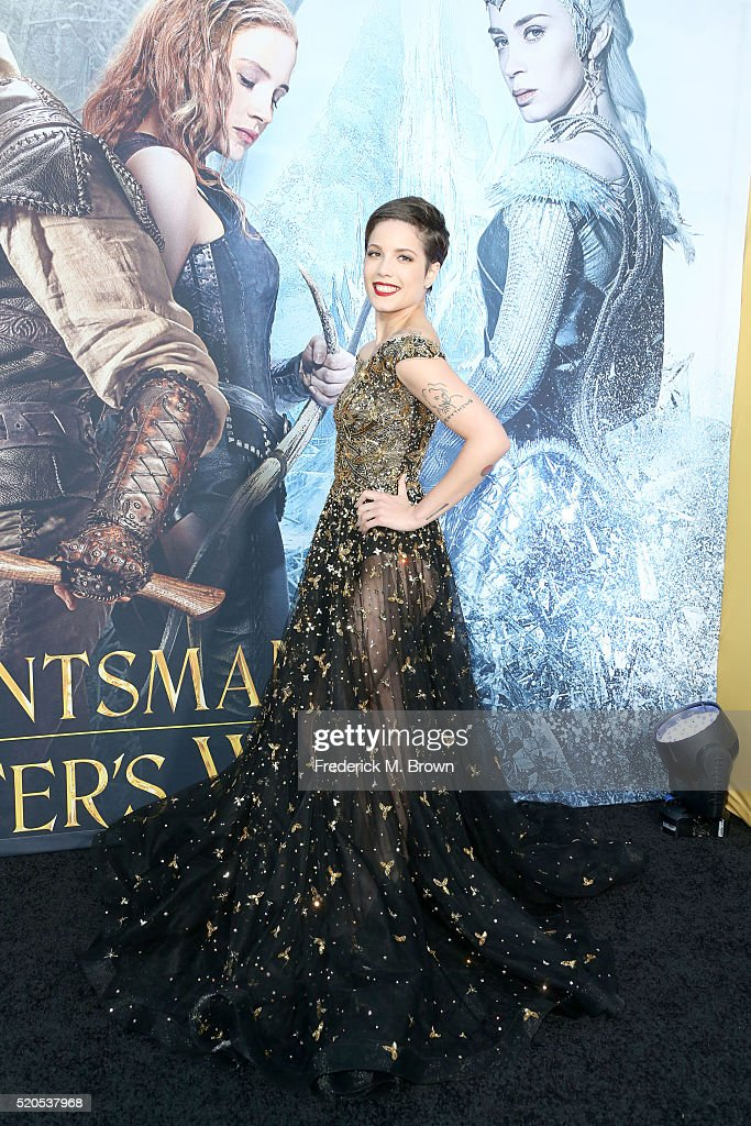 Singer Halsey attends the premiere of Universal Pictures' 'The Huntsman: Winter's War' at the Regency Village Theatre on April 11, 2016 in Westwood, California.