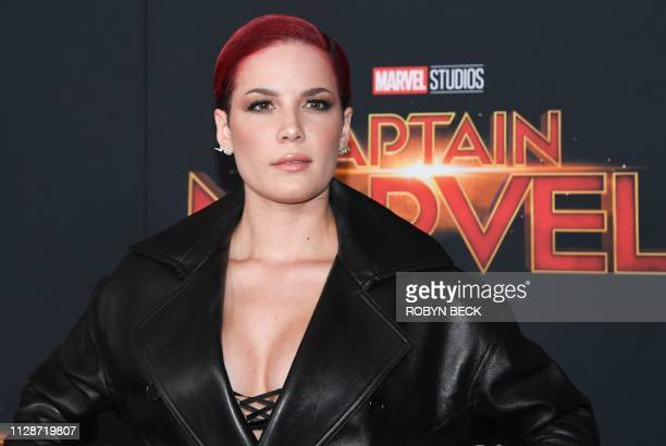 """Singer Halsey attends the world premiere of """"Captain Marvel"""" in Hollywood, California, on March 4, 2019."""