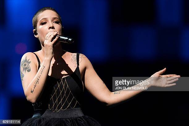 US singer Halsey performs during the 2016 Nobel Peace Prize Concert at Telenor Arena in Oslo Norway December 11 2016 / AFP / NTB Scanpix / Jon Olav...
