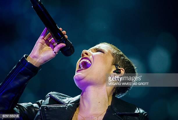 US singer Halsey performs during the 2016 Nobel Peace Prize Concert at Telenor Arena in Oslo Norway December 11 2016 / AFP / NTB Scanpix / Vegard...
