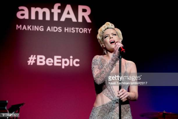 Singer Halsey performs during the 2018 amfAR Gala New York at Cipriani Wall Street on February 7 2018 in New York City