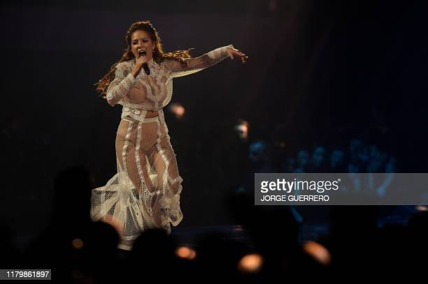 Singer Halsey performs during the MTV Europe Music Awards at the FIBES Conference and Exhibition Centre of Seville on November 3, 2019.