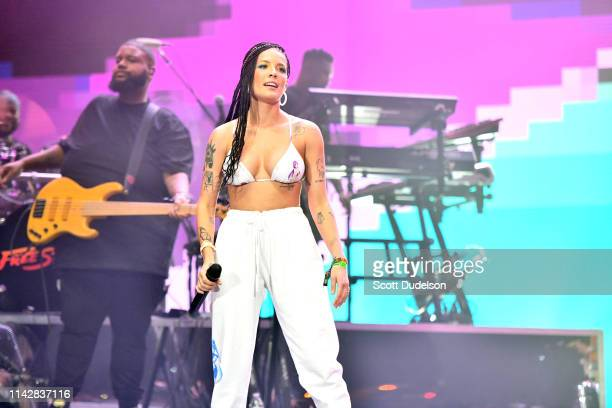 Singer Halsey performs onstage as a special guest of Khalid during Weekend 1 Day 3 of the Coachella Valley Music and Arts Festival on April 14 2019...