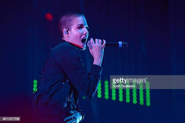 Singer Halsey performs onstage at The Forum on December 12 2015 in Inglewood California