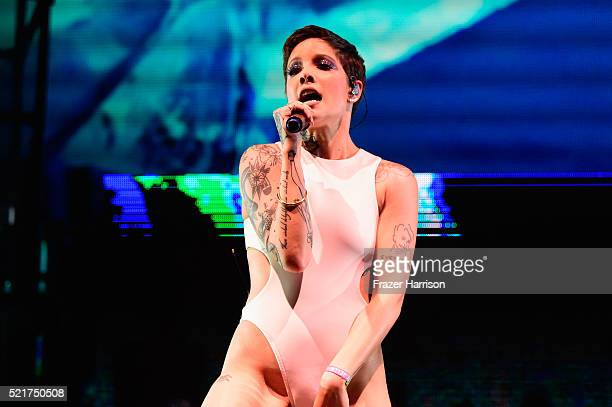 Singer Halsey performs onstage during day 2 of the 2016 Coachella Valley Music Arts Festival Weekend 1 at the Empire Polo Club on April 16 2016 in...