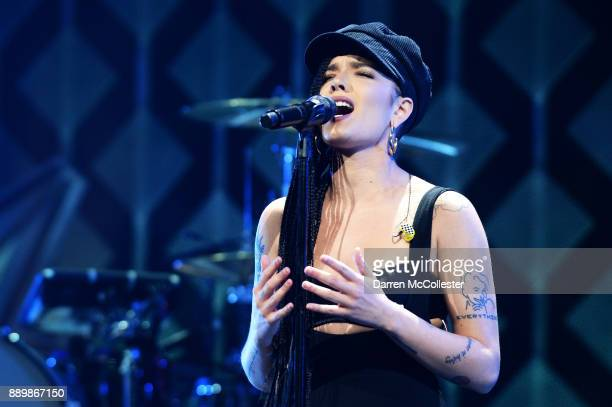 Singer Halsey performs onstage during KISS 108's Jingle Ball 2017 presented by Capital One at TD Garden on December 10 2017 in Boston Mass