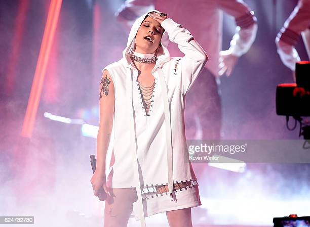 Singer Halsey performs onstage during the 2016 American Music Awards at Microsoft Theater on November 20 2016 in Los Angeles California