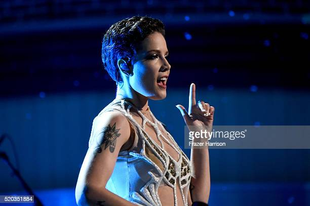 Singer Halsey performs onstage during the 2016 MTV Movie Awards at Warner Bros Studios on April 9 2016 in Burbank California MTV Movie Awards airs...