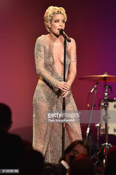 Singer Halsey performs onstage during the 2018 amfAR Gala New York at Cipriani Wall Street on February 7 2018 in New York City