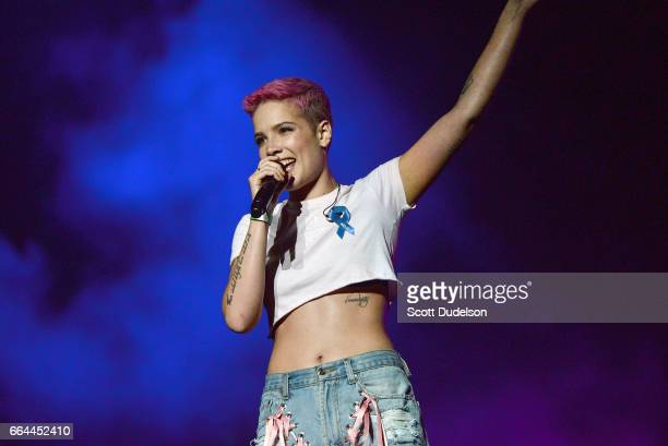 Singer Halsey performs onstage during the WELCOME Fundraising Concert Benefiting the ACLU at the Staples Center on April 3 2017 in Los Angeles...