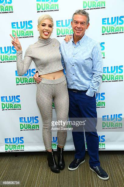 Singer Halsey poses with Elvis Duran during The Elvis Duran Z100 Morning Show at Z100 Studio on October 22 2015 in New York City